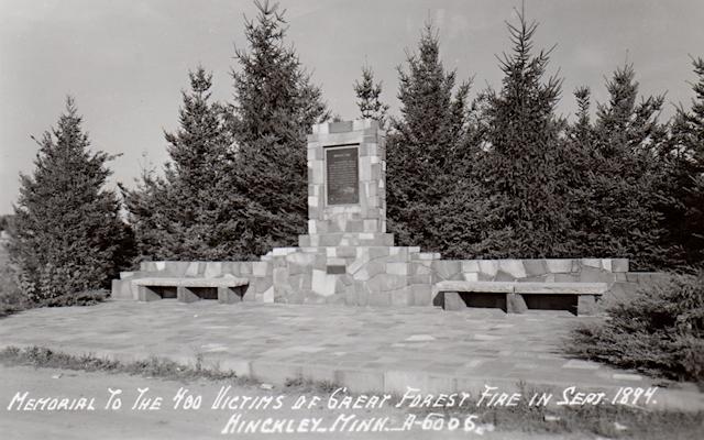 Fire Monument, Vintage Postcard
