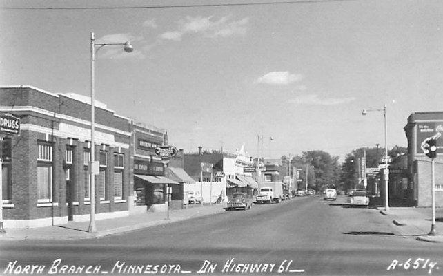 Highway 61 and Main Street North Branch, 1950s, looking east