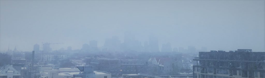 Obscured Minneapolis skyline during a winter storm.