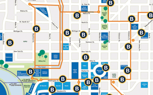 Map of the Indianapolis Cultural Trail