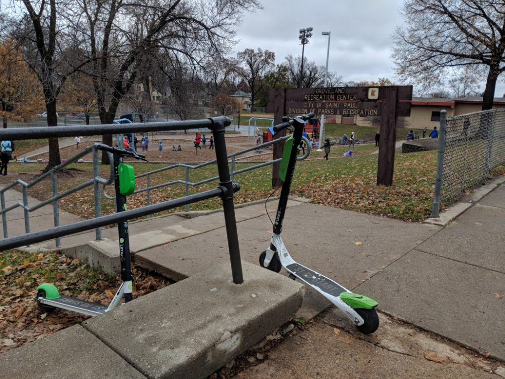 Figure 2. E-Scooters in front of Groveland Recreation Center