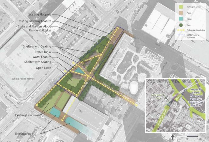 Proposed plan includes new water feature and ramps to address grade changes. Credit: MPRB