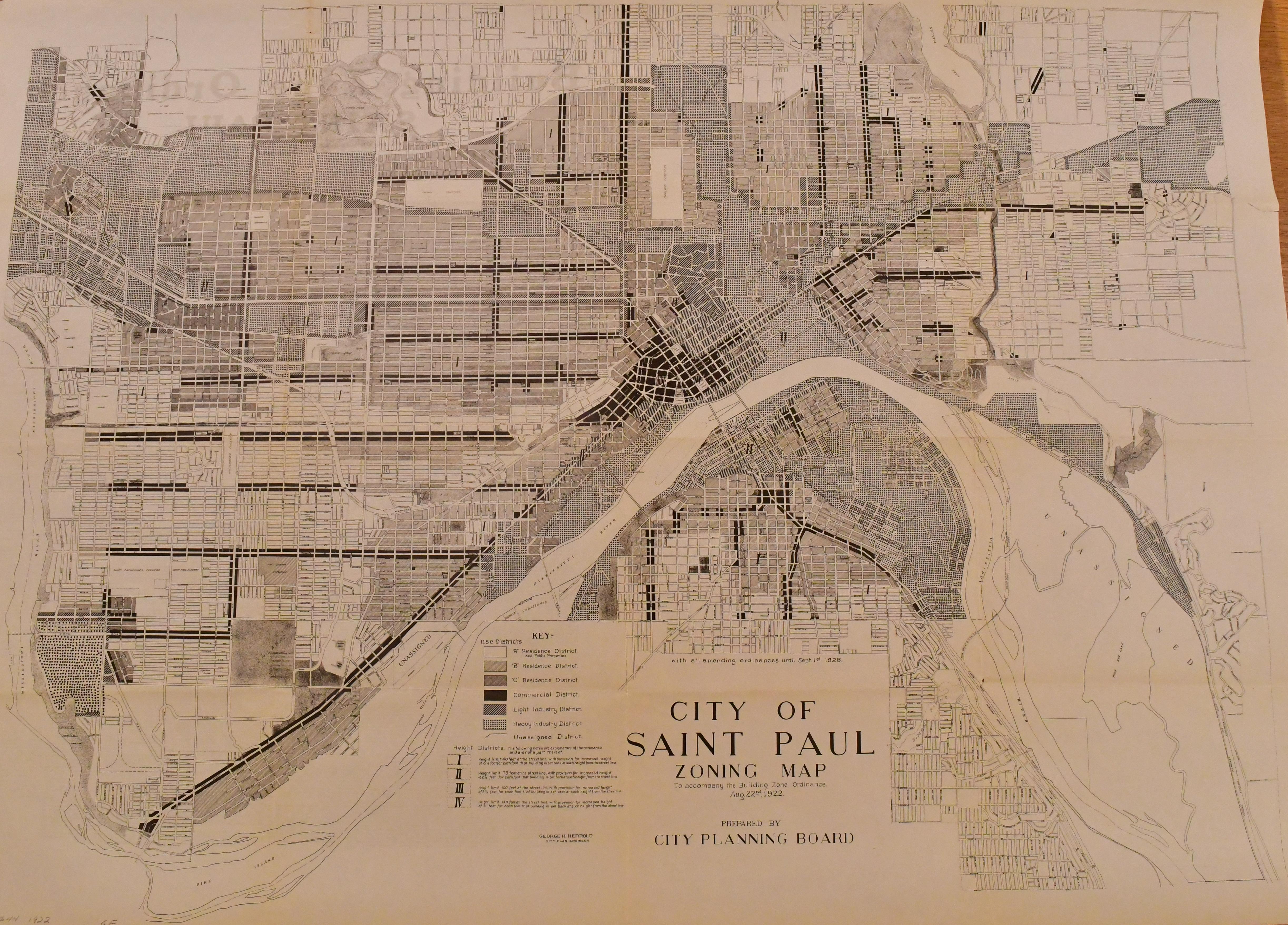 Saint Paul's 1922 zoning map (MN Historical Society)