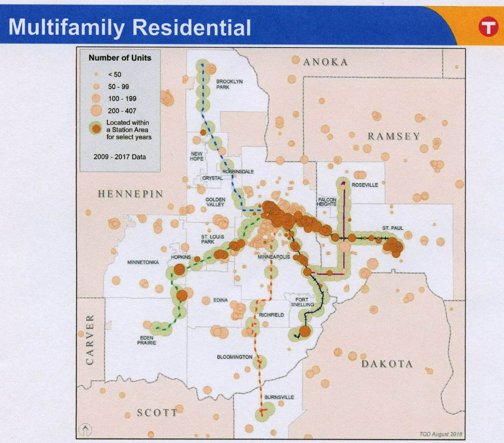 Number of Multifamily Residential Units Located Near Transit Stations, 2009-2017