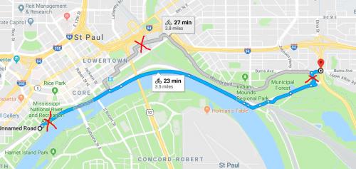 Screenshot of route