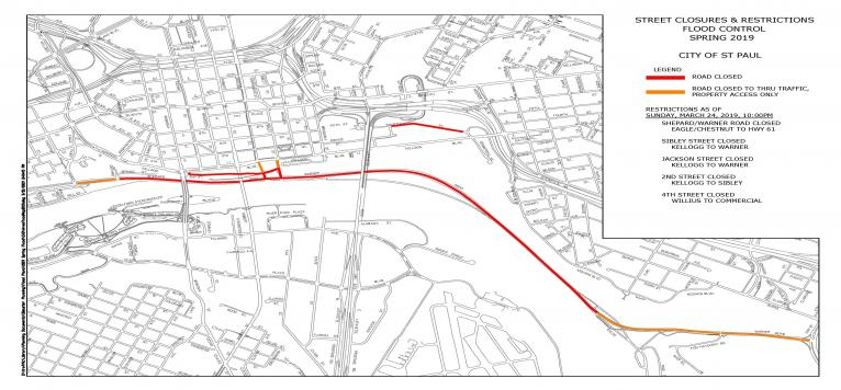 Map showing red lines where roads are closed due to flooding