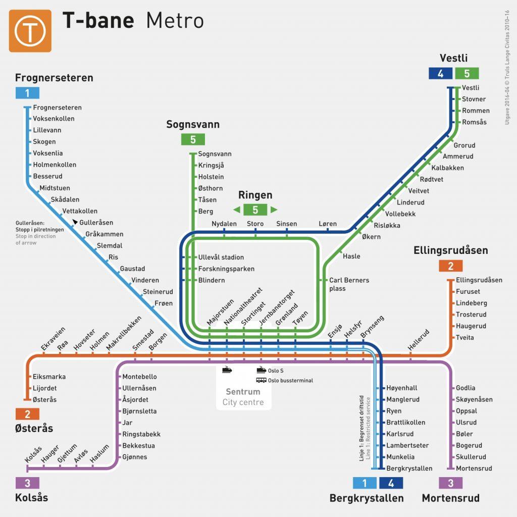 T-Banen Oslo route map. Credit: Sporveien AS