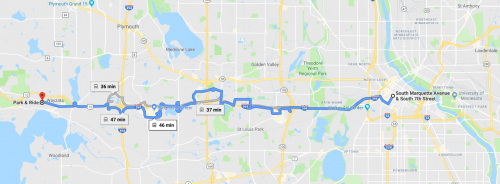 Map of the route from Downtown Minneapolis to Wayzata on the 645. Source: Google Maps