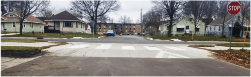 Tabled crossing on the Grand Round (Wheelock Parkway)