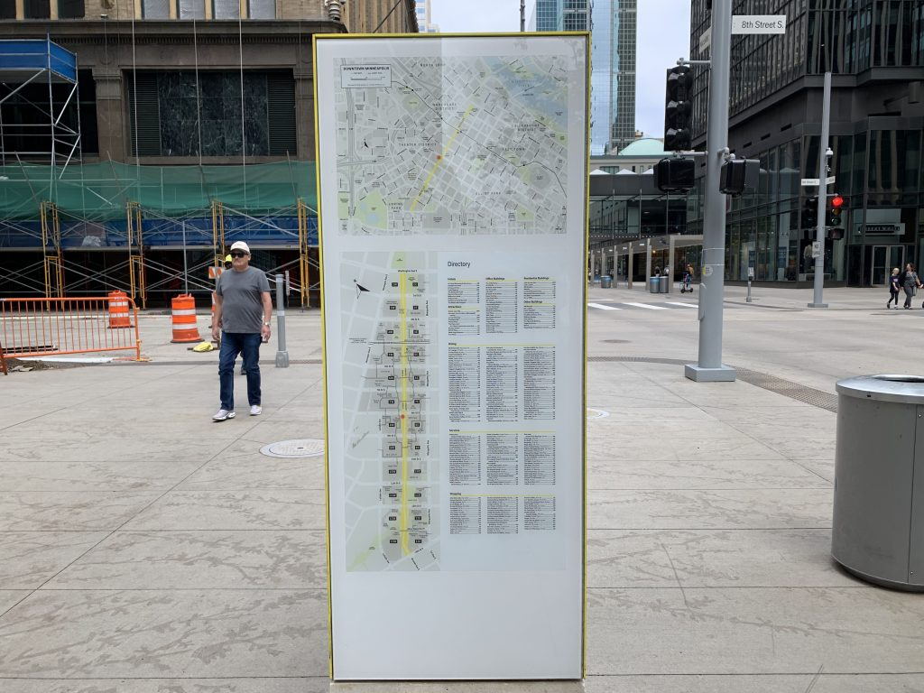 Nicollet Mall way-finding map signage. Type is small and signs are few and far between. Photo taken August 11, 2019.