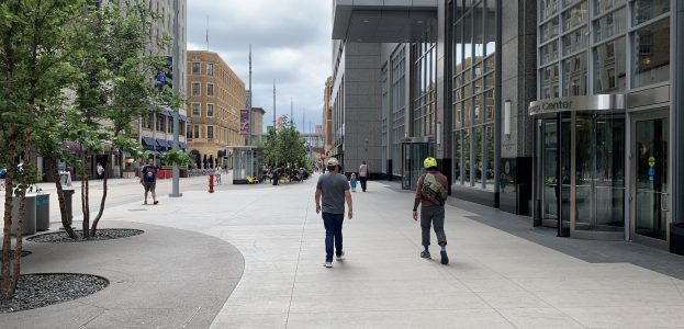 Nicollet Mall at U.S. Bancorp Center, facing south. Photo taken August 11, 2019.