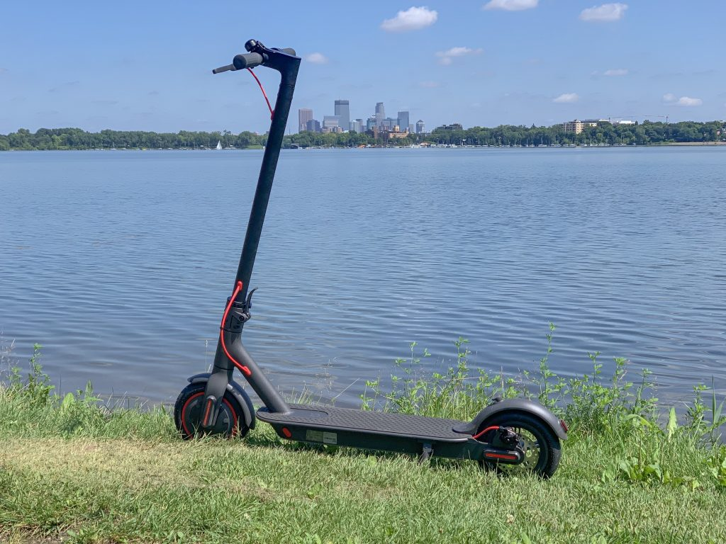 Xiaomi Mi M365 Pro scooter at Bde Maka Ska with Downtown skyline