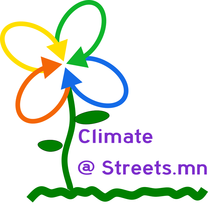 The logo for streets dot mn but it's a flower. Climate @ streets dot mn.
