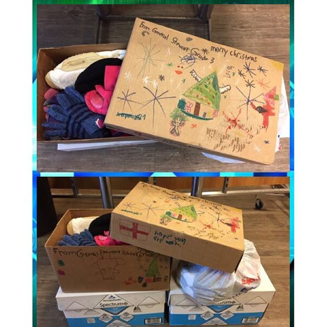 The grade 3 class at General Stewart collected socks, gloves, toques, and scarves for #StreetsAliveMission. They only decorated one box because they didn't think they would collect more than that. They brought 3 boxes AND a bag! You guys are GREAT!! Thank you so much! #Lethbridge #youth #kidscan