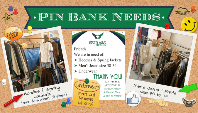 Spring 2017 PIN Bank Needs: jackets, jeans, underwear