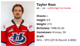 Taylor Ross - Lethbridge Hurricanes