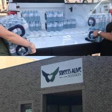 The University of Lethbridge Lux Hotel team donated their bottle funds to purchase water and delivered it to the Mission.