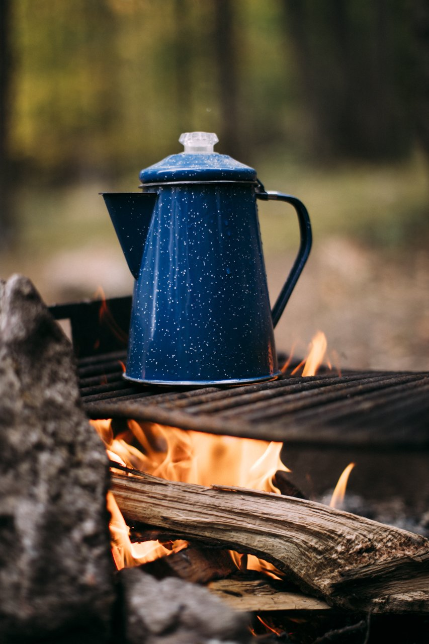 Camp coffee fireside | streetsandstripes.com