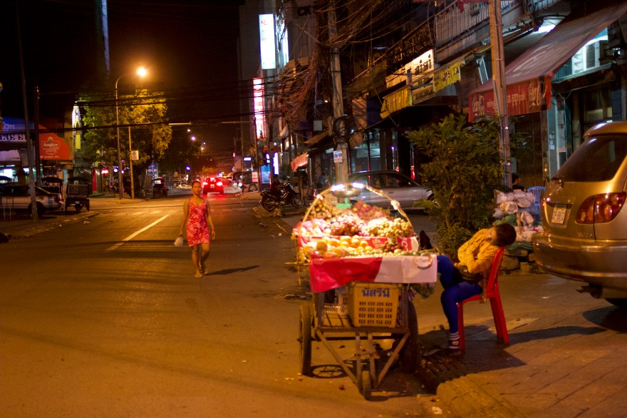 Shows of street life at night in Cambodia