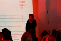Professor Ruth Morrow introducing Street Society - Skyline Building, Newtownards Road