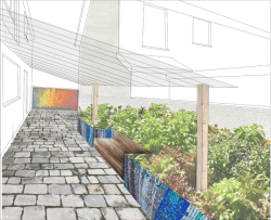 Perspective render of the community space - Ballymac Friendship Trust