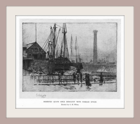 White etching of Salem wharf Harpers 1908