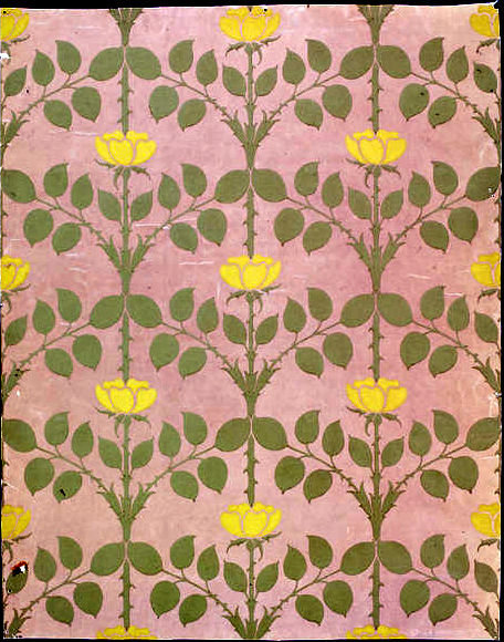 Yellow Roses Briar Wallpaper CFA Voysey 1901