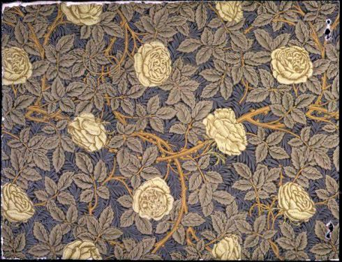 Yellow Roses Wallpaper V and A William Morris 1877