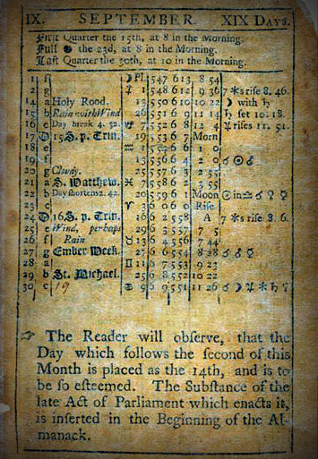Virginia Almanack 1752