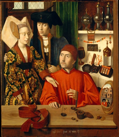 Saint Eligius as a goldsmith by Petrus Christus 1449