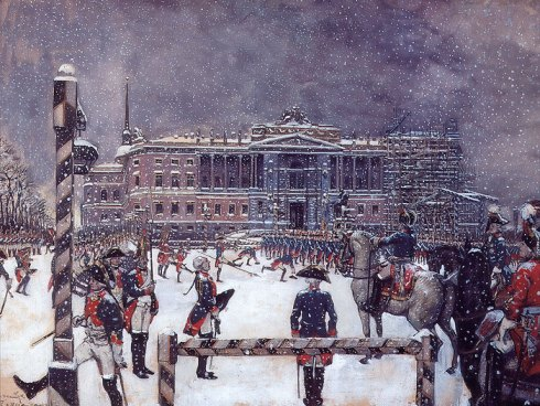 Alexander-Benois-xx-Parade-under-Paul-I-1907-xx-The-State-Russian-Museum