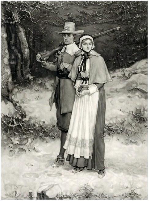 Puritan Winter John and Priscilla Engraving