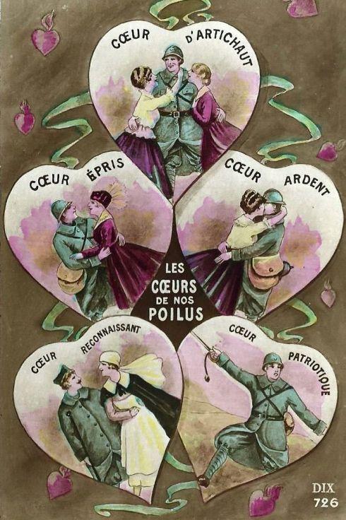 Valentine 1917 French Hearts