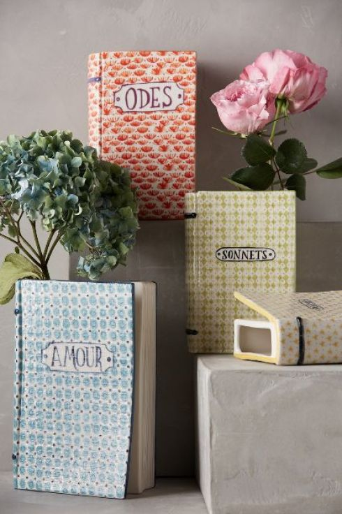 Anthropologie ceramic book vases