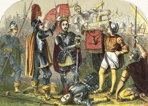 Richmond crowned after the battle of Bosworth Field. Illustration from History of England by Henry Tyrrell (c 1860).
