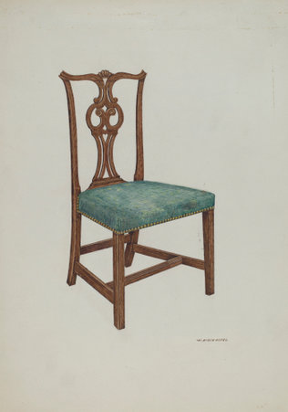 William Kieckhofel, Salem Chair, American, active c. 1935, c. 1937, watercolor and colored pencil on paper, Index of American Design