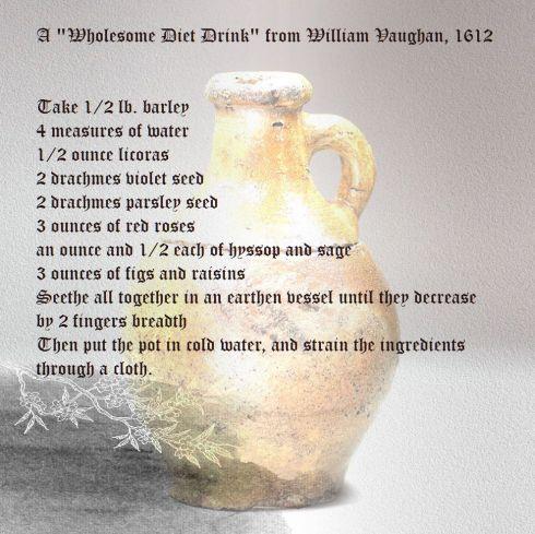 Stoneware jug 17th century with Vaughan Diet Drink