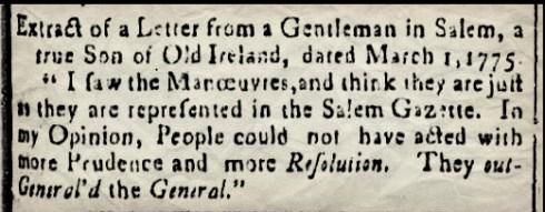 Essex Gazette March 7 1775 Leslies Retreat