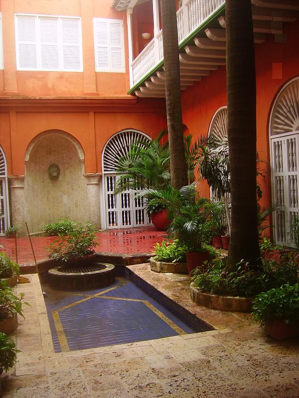 Tropical Spanish colonial courtyard Cartagena Colombia