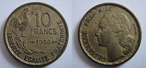 English: 1958 10 French Francs coin