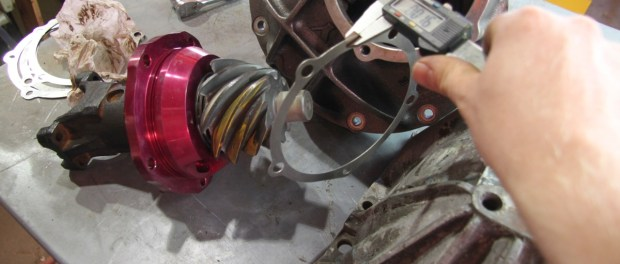 """When changing the shims, you want to start big and work your way down. We measured each of the supplied shims and moved the pinion out .030"""" to start."""