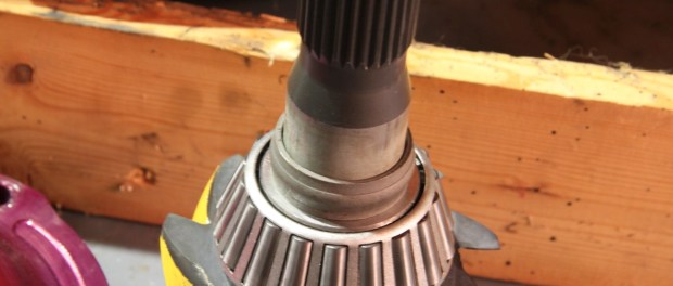 With the adjustments set, the pinion came out of the pinion support, a new crush sleeve installed and then the pinion assembly was put back together.
