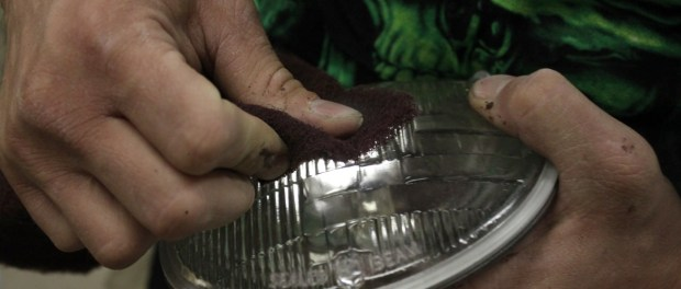 We bought a new pair of sealed beam headlights for the Comet and prepped the surface with a fine scotchbrite pad.