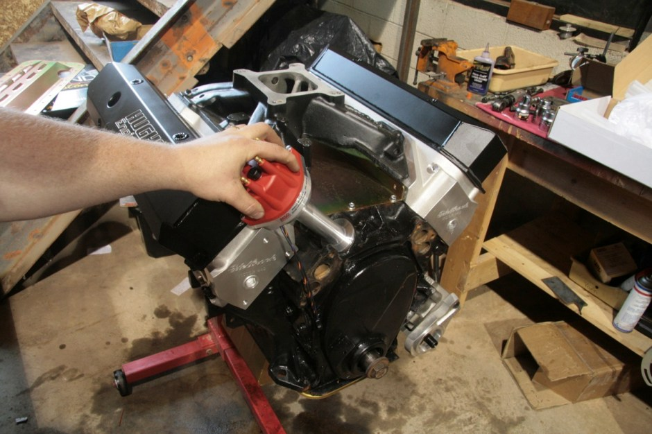 The MSD Billet distributor (pn 8386) was slipped into the block and engaged with the pump drive. This is just a test fit though, as we will pull the distributor and drive gear to prime the oiling system after the motor is installed in the Scamp.