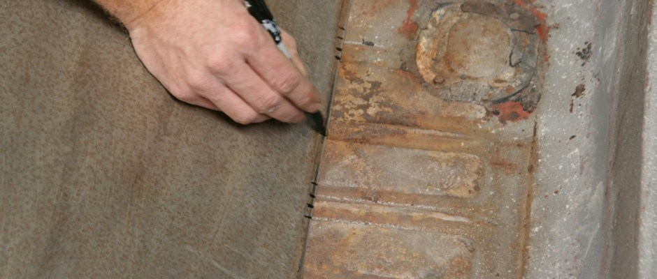 The sheet metal was laid into the trunk and marked to match the corrugations. This needed to be accurate to a proper look.