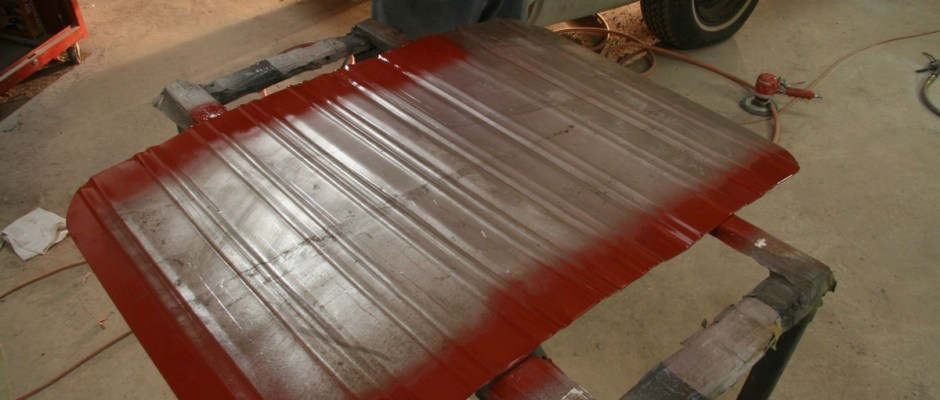 Both the car and the new panel were treated a coating of weld-thru primer. This protects the underside of the weld where it can't be reached later. This is an often forgotten step that is critical to rust prevention.