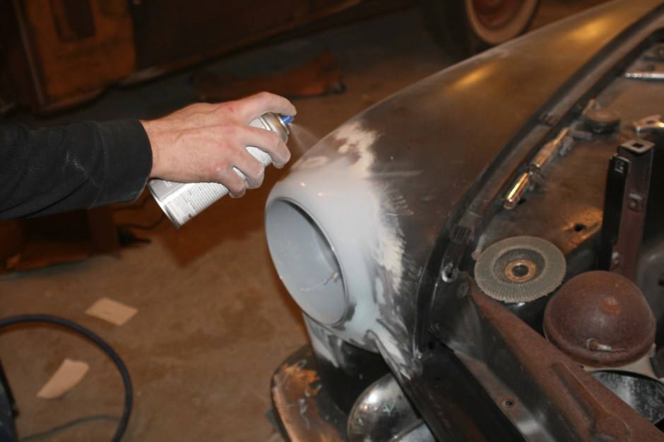 10. After wiping the area with some paint thinner to clean it, a nice coat of rattle can self-etching primer was sprayed on. This is just to protect the metal while the car is being built, a real primer job will be done when the car is completed.