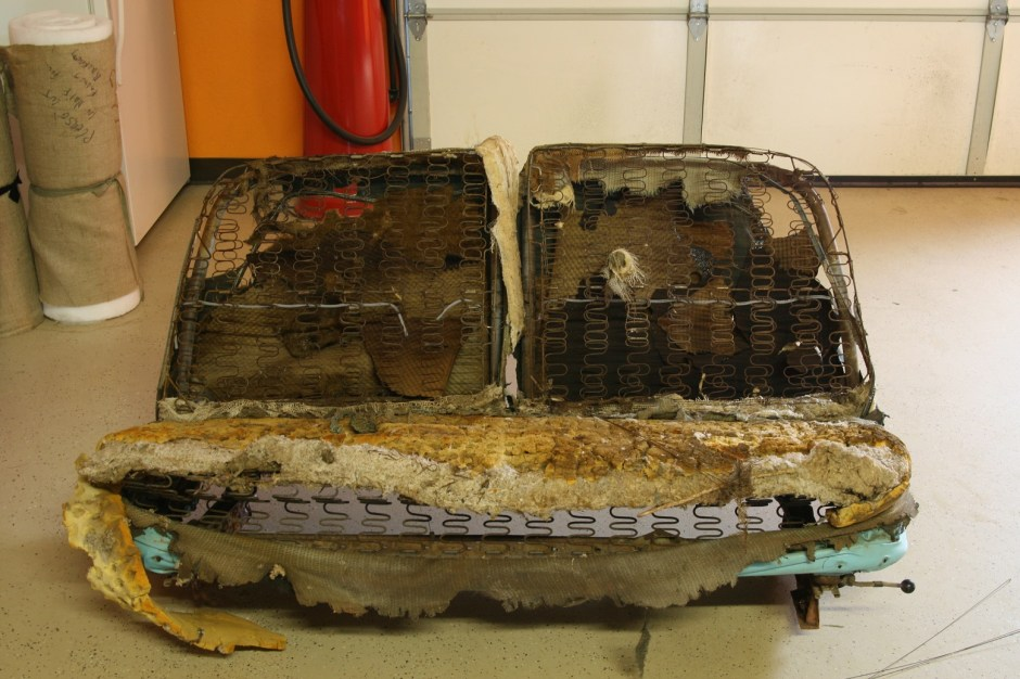 1. The original upholstery had certainly seen better days. The rats made their home in the trunk with the stuffing from the seat. Not a pretty picture.