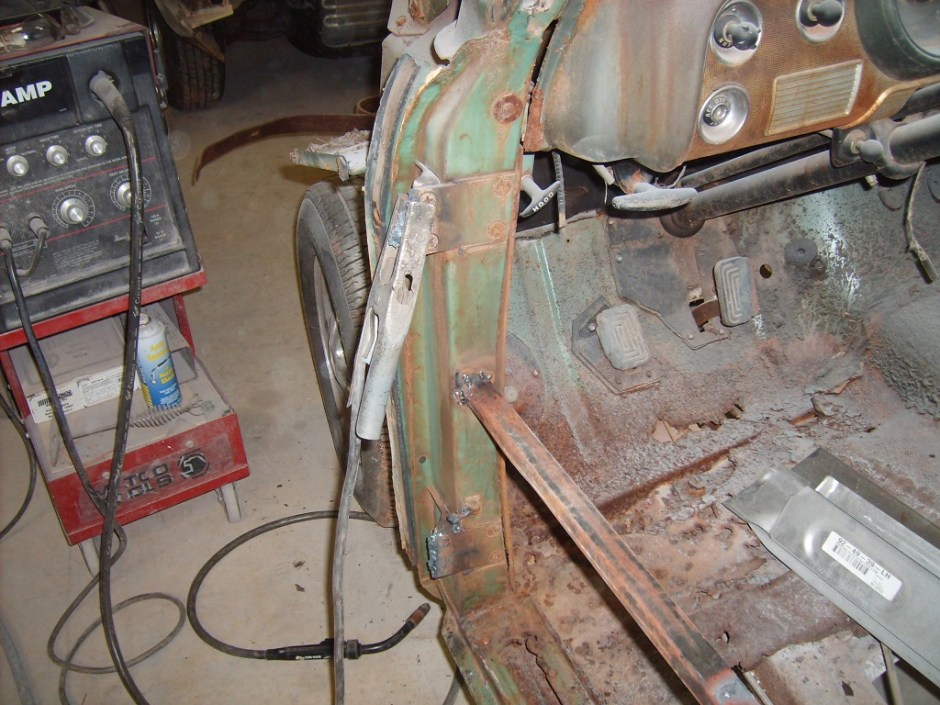 1. Before any cutting could be done, the body needed some extra support. This is not normally required when the floors are intact, but this car was so far gone, we felt it necessary. The doors were removed to make things easier, but this step is not absolutely required.