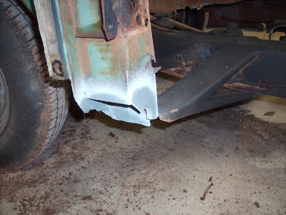 17. The door jambs were sprayed with weld-thru primer and let dry.